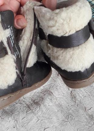 Кожаные зимние сапожки ботиночки zara 21 р.овчина2