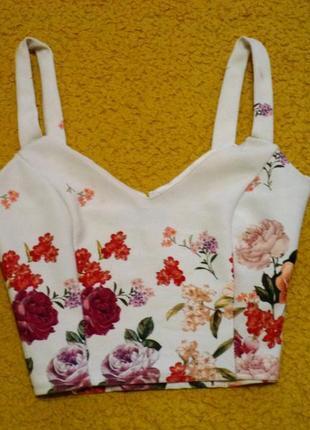 Блуза топ-кроп в цветочный принт