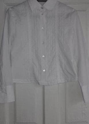 Белая рубашка в школу 8-9 лет