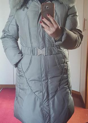 Пуховое пальто с капюшоном, пуховик ниже колена снизила цену с 1000 до 500  грн.