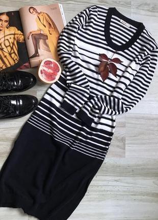 Вязаное тёплое платье миди в полоску