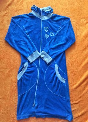Велюровый халат синего цвета. отдам за вашу цену