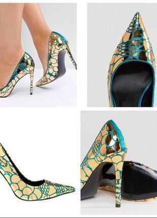 Эксклюзивные дизайнерские атласные туфли лодочки изумруд с золотом asos 39р 25см