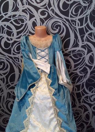 Платье снежной королевы,шлейф,кольца,5-6л