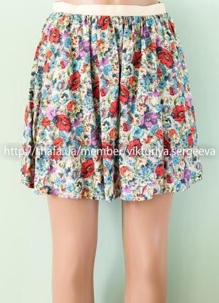 Шикарная вискозная легкая юбка клеш с врезными карманами