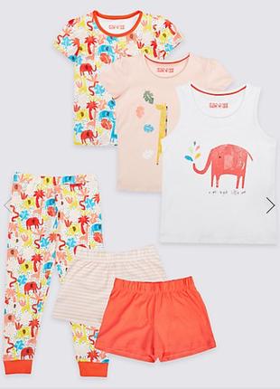 Шикарный комплект из 3 пижам от marks&spencer. размеры 18-24 мес, 2-3,3-4