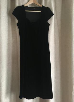 Нарядное черное бархатное платье, миди, autograph, размер 10
