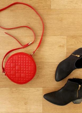 Красная круглая сумка, кроссбоди next