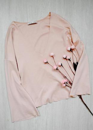 Бомбезная кофта джемпер свитер с расклешенным рукавом zara