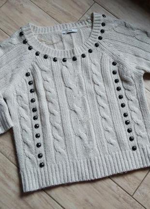 Свитер теплый топ укороченный короткий бежевый пусер кофта рубашка блузка гольф в рубчик