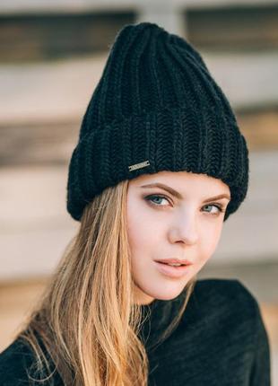 Новаа,красивая,стильная,тренд теплая,вязаная шапка в косы с отворотом