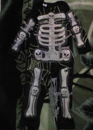 Карнавальный новогодний костюм скелет, кощей безсмертный светится 3-5лет ladybird