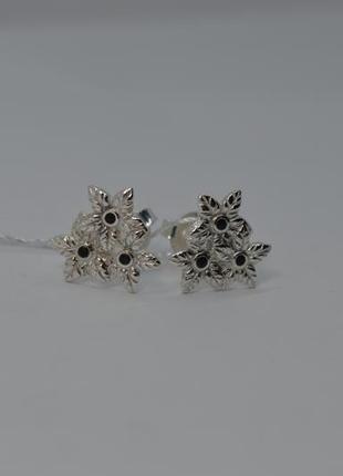 Серебряные серьги #пусеты #гвоздики #цветочки, #букетик