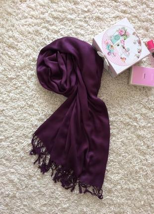 Шикарный шарф палантин шёлк вискоза цвета бургунди
