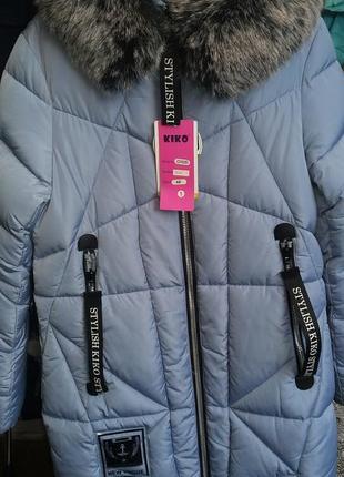 Зимнее пальто кико на девочку 146-164р с мехом