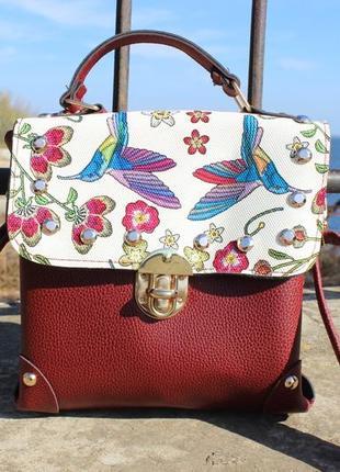 Бордовая сумка с птицами 😍