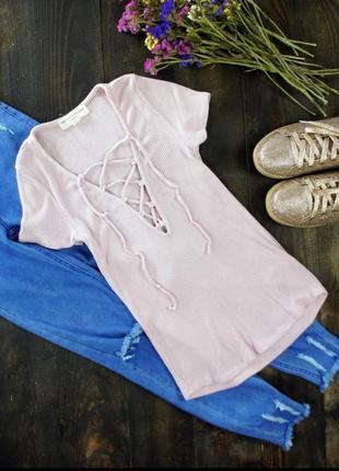 Футболка рубчик кофта базовая шнуровка джемпер блуза