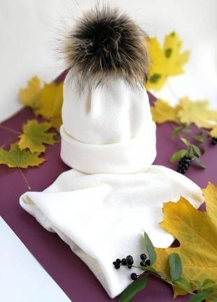 Модный комплект - зимняя шапка снуд с помпоном