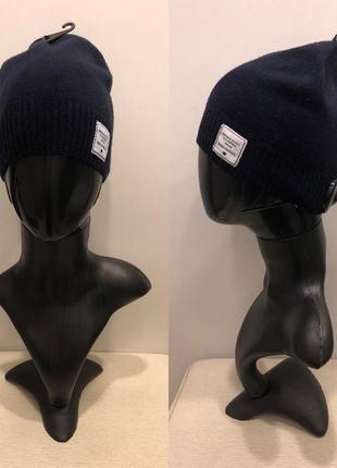 Синяя шапка с лейбой mohito шапка с шерстью