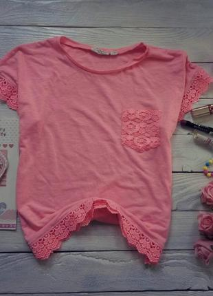 Розовая футболка с кружевом kapp ahl