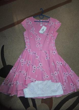 Новое розовое необычное платье размер s-м скидка!