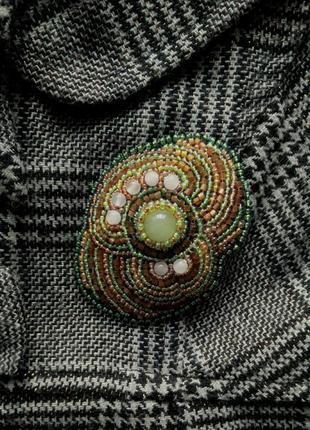Зелёная, оливковая брошь, брошка по восточным мотивам, вышивка бисером