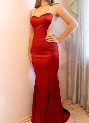 Красное вечернее элегантное  платье в пол.