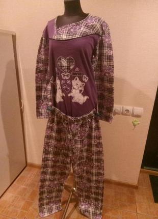 Пижама (домашний костюм) на байке сиреневая с котами cetolar турция