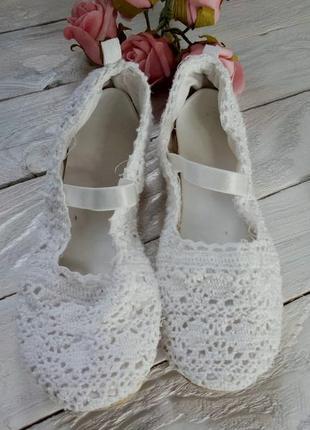 Белые ажурные вязаные тапочки-балетки от h&m