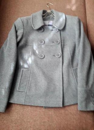 Пальто шерстяное серое куртка полупальто