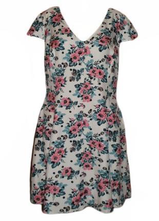 Расклешенное платье цветочный принт вискоза
