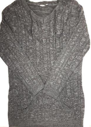 Крутая тёплая вязаная кофта платье с капюшоном бренда pepco