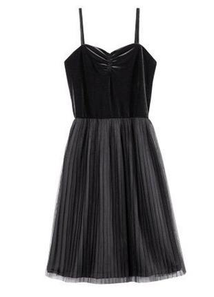 Платье-плиссе чёрное h&m