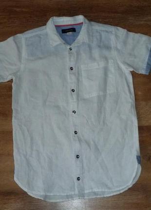 Белая льняная рубашка на 11 лет river island в идеале
