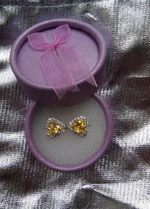 Нереально красивые серебряные серьги с желтым цирконием zarina