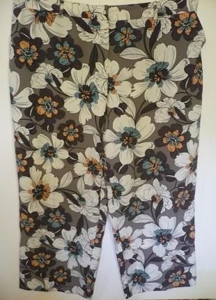 Штаны свободные с карманами в цветах