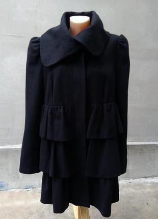 Тёплое шерстяное кашемировое пальто с рюшами