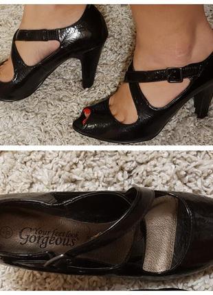 Лаковые черные туфли с открытым носком new look, р. 36