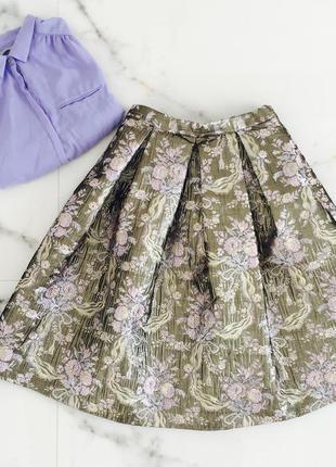 Яркая нарядная юбка миди жаккард парча цветочный принт