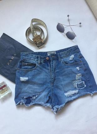 Короткие джинсовые шорты с завышенной талией new look
