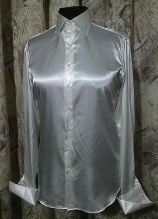 Рубашка alexander alesi италия, m|lраз. атласный стрейч
