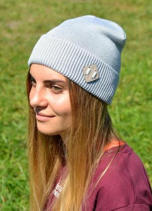 Демисезонная шапка унисекс на ог 54-58 см, 10% шерсть