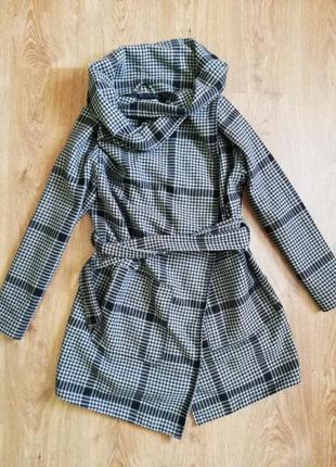 Пальто ассиметрия в гусиную ласку f&f серое