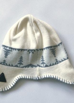 Теплая шапка ушанка, 2х слойная трикотах и флис,  с орнаментом р50-542