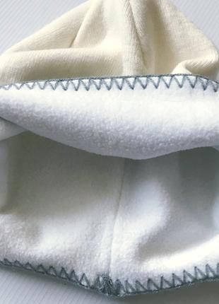 Теплая шапка ушанка, 2х слойная трикотах и флис,  с орнаментом р50-543