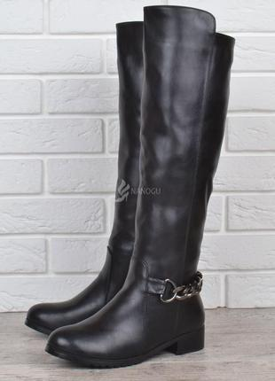 Сапоги женские зимние на каблуке fabio monelli пресс-кожа высокие черные 074a826a7fecd