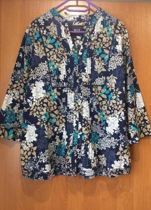Хлопковая рубашка цветочный принт uk 20 50-54 смотрите замеры