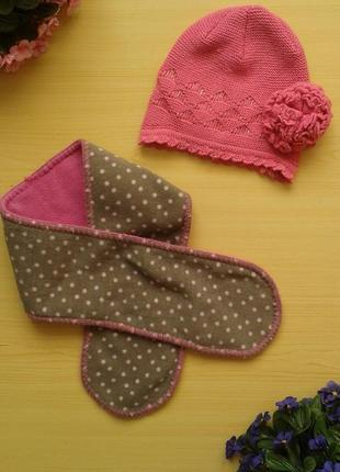 Шикарный демисезонный комплект (шапка и шарф), ог 46-48 см
