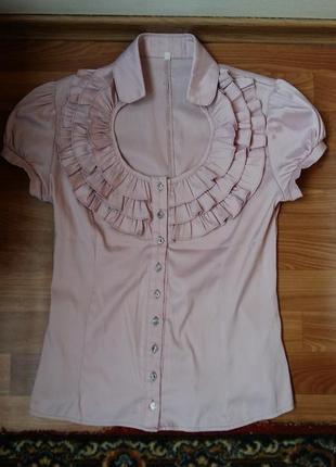 Блуза блузка жабо рюш школа офис пудра розовая