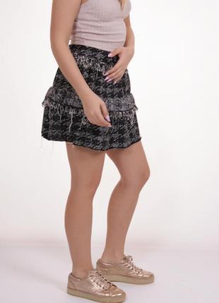 Короткая мини твидовая юбка zara